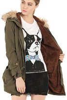 Greenis Women Jackt Coat Fur Hooded Thick Padded Long Size X- Large