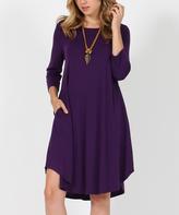 Dark Purple Three-Quarter Sleeve Side-Pocket Swing Tunic Dress