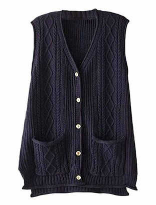 FTCayanz Women's V Neck Jumpers Winter Sweater Sleeveless Vest Cardigan with Pockets Navy X-Large