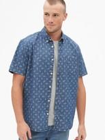 Gap Print Denim Short Sleeve Shirt