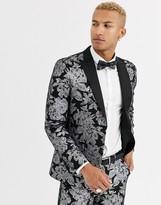 Tux Till Dawn Tux Til Dawn slim fit metallic floral suit jacket-Black