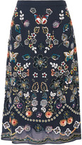 Needle & Thread Embellished Georgette Skirt - Midnight blue