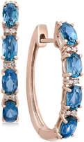 Effy EFFYandreg; London Blue Topaz (2-1/2 ct. t.w.) and Diamond Accent Hoop Earrings in 14k Rose Gold