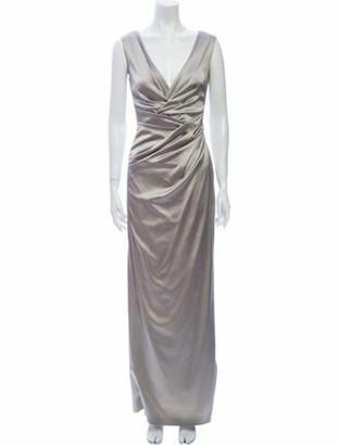 Talbot Runhof Plunge Neckline Long Dress Grey