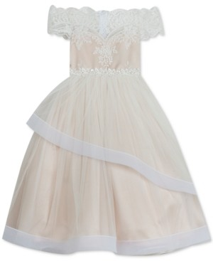 Rare Editions Big Girls Lace-Overlay Off-The-Shoulder Dress