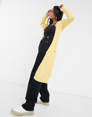 Vila longline cardigan in yellow