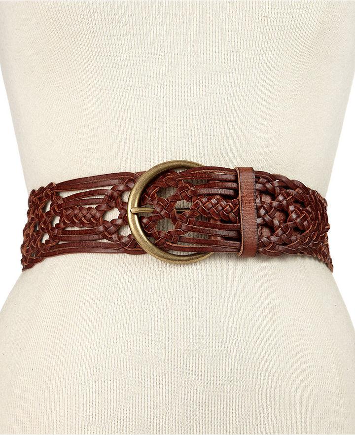 Fossil Belt, Wide Woven Leather Waist Belt
