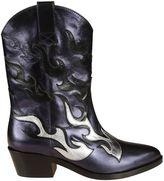 Chiara Ferragni Blue Flames Cowboy Boots