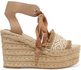 Paloma Barceló Elsa Leather-Trimmed Woven Espadrille Wedge Sandals