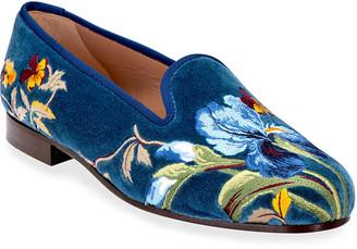 Stubbs And Wootton Iris Embroidered Velvet Smoking Slippers