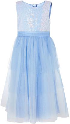 Monsoon Elise Sequin Tulle Maxi Dress Blue