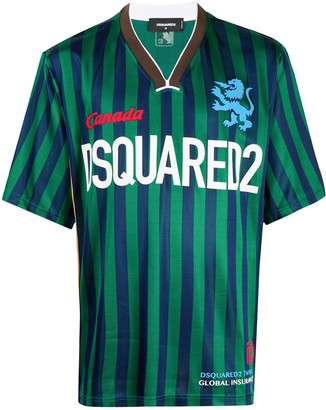 DSQUARED2 Logo-Print Striped Football Jersey Top