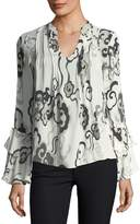 Josie Natori Long-Sleeve Ruffle-Cuff Wandering Clouds-Print Silk Blouse