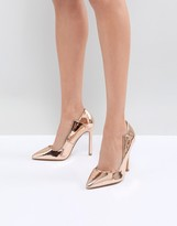 Thumbnail for your product : Lost Ink Rose Gold Paris Cut Out Pumps