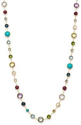 """Ippolita 18K Yellow Gold Lollipop Lollitini Mother of Pearl, Green Gold Citrine, Peridot, Green Agate, Blue Topaz, Turquoise, London Blue Topaz, Amethyst & Pink Tourmaline Long Necklace, 36"""""""