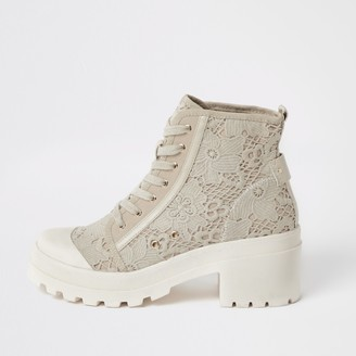 River Island Womens Cream lace chunky ankle boots