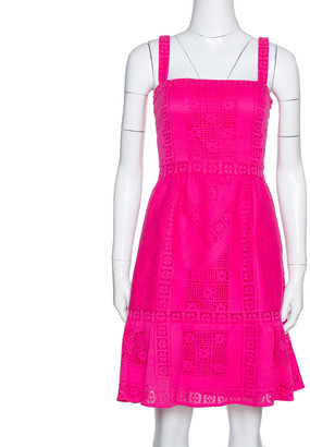 Valentino Pink Crochet Cotton Flared Short Dress S