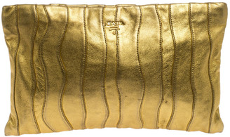 Prada Metallic Gold Wave Leather Clutch