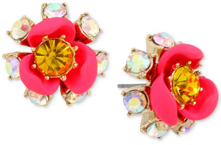 Betsey Johnson Gold-Tone Crystal Flower Stud Earrings
