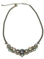 Sorrelli Crystal Patina Round Cut Blue Green Antique Goldtone Crystal Necklace