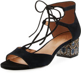 Bettye Bethany Suede Geometric Sandal, Black