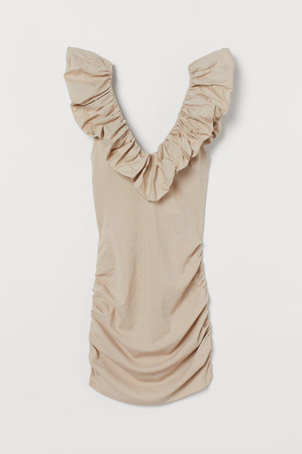 H&M Ruffle-trimmed Fitted Dress - Beige