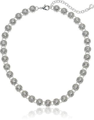 Anne Klein Women's Silver Tone Pave Collar Necklace