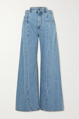 Maison Margiela Decortique Paneled High-rise Wide-leg Jeans - Blue