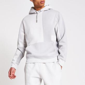 River Island Prolific grey colour block regular fit hoodie