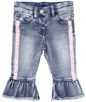 MonnaLisa Ruffled Stretch Cotton Denim Jeans