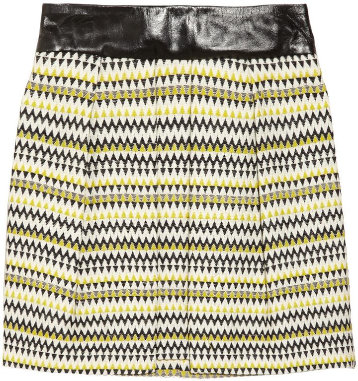 Milly Naomi leather-trimmed zigzag wool-blend tweed skirt