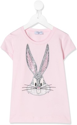 MonnaLisa embellished bunny print T-shirt