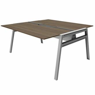 """Steelcase Bivi Writing Desk Surface Size: 30"""" x 48"""", Top Finish: Blackwood, Base Finish: Platinum Metallic"""