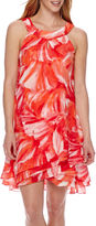 Studio 1 Sleeveless Halter Multi Tiered Abstract Shift Dress