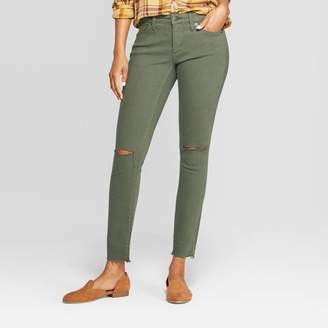 Universal Thread Women's Mid-Rise with Knee Slit Jeggings Olive