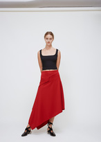J.W.Anderson crimson asymmetric side button skirt
