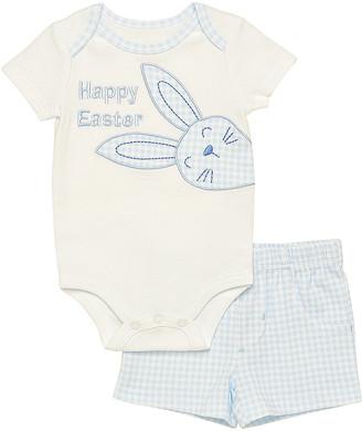 Baby Starters Boys' Infant Bodysuits White - White Bunny 'Happy Easter' Bodysuit & Blue Plaid Shorts - Infant