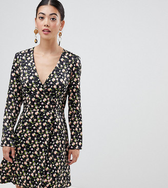 Asos DESIGN Petite jacquard mini skater dress with buttons and long sleeves
