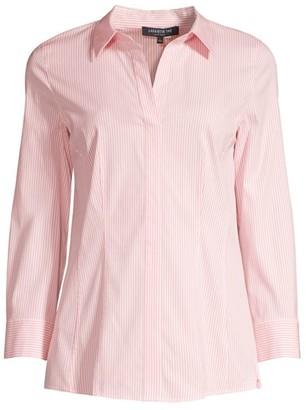 Lafayette 148 New York Katherine Striped Side Zip Shirt