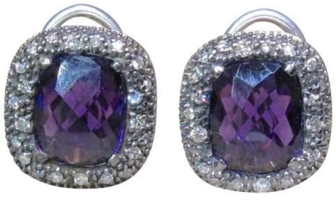 David Yurman 925 Sterling Silver Melange Amethyst Diamond Earrings