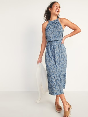 Old Navy Waist-Defined Sleeveless Floral-Print Maxi Dress for Women