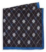 Z Zegna Argyle Silk Pocket Square