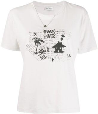 Saint Laurent graphic print necklace T-shirt
