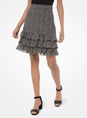 Michael Kors Mini Leopard Georgette Ruffled Skirt