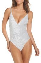 Leith Women's Crushed Velvet One-Piece Swimsuit