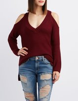 Charlotte Russe Shaker Stitch Cold Shoulder Sweater