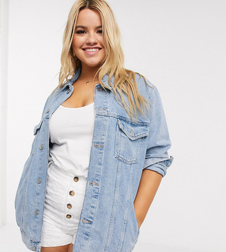 New Look Plus New Look Curve oversized denim jacket in light blue
