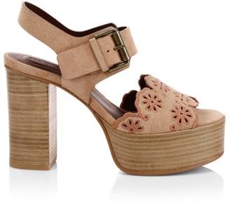 See by Chloe Krysty Floral Laser-Cut Suede Platform Sandals