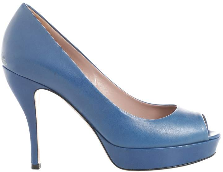 02186e435 Gucci Blue Leather Pumps - ShopStyle