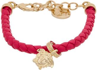 Versace Braided Leather Charm Bracelet